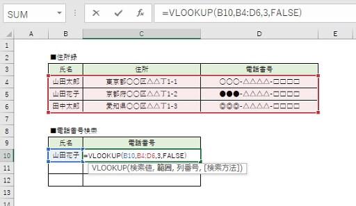 VLOOKUP関数の使用例