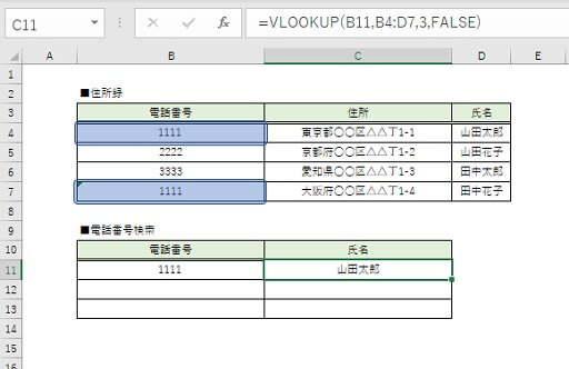 VLOOKUP関数の左端データ重複