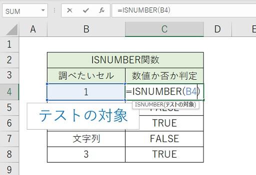 ISNUMBER関数のテストの対象