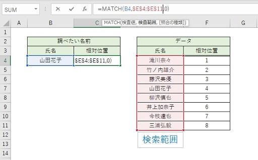 MATCH関数の検索範囲