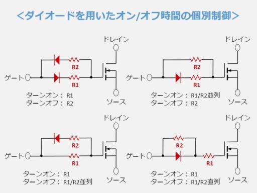 ダイオードを用いたオンオフ時間の個別制御